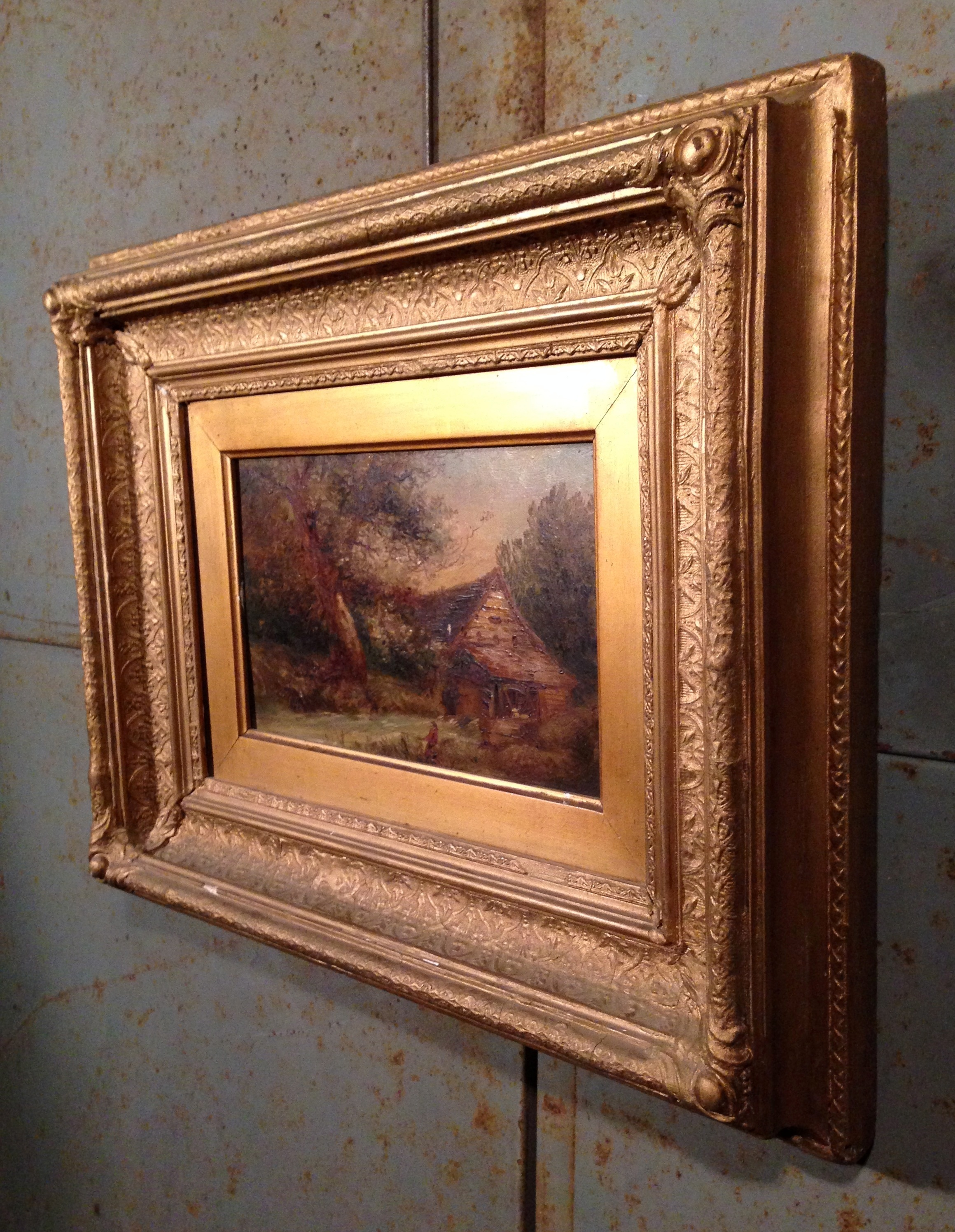 Victorian gilt frame oil painting artistic industrial for Framing canvas paintings