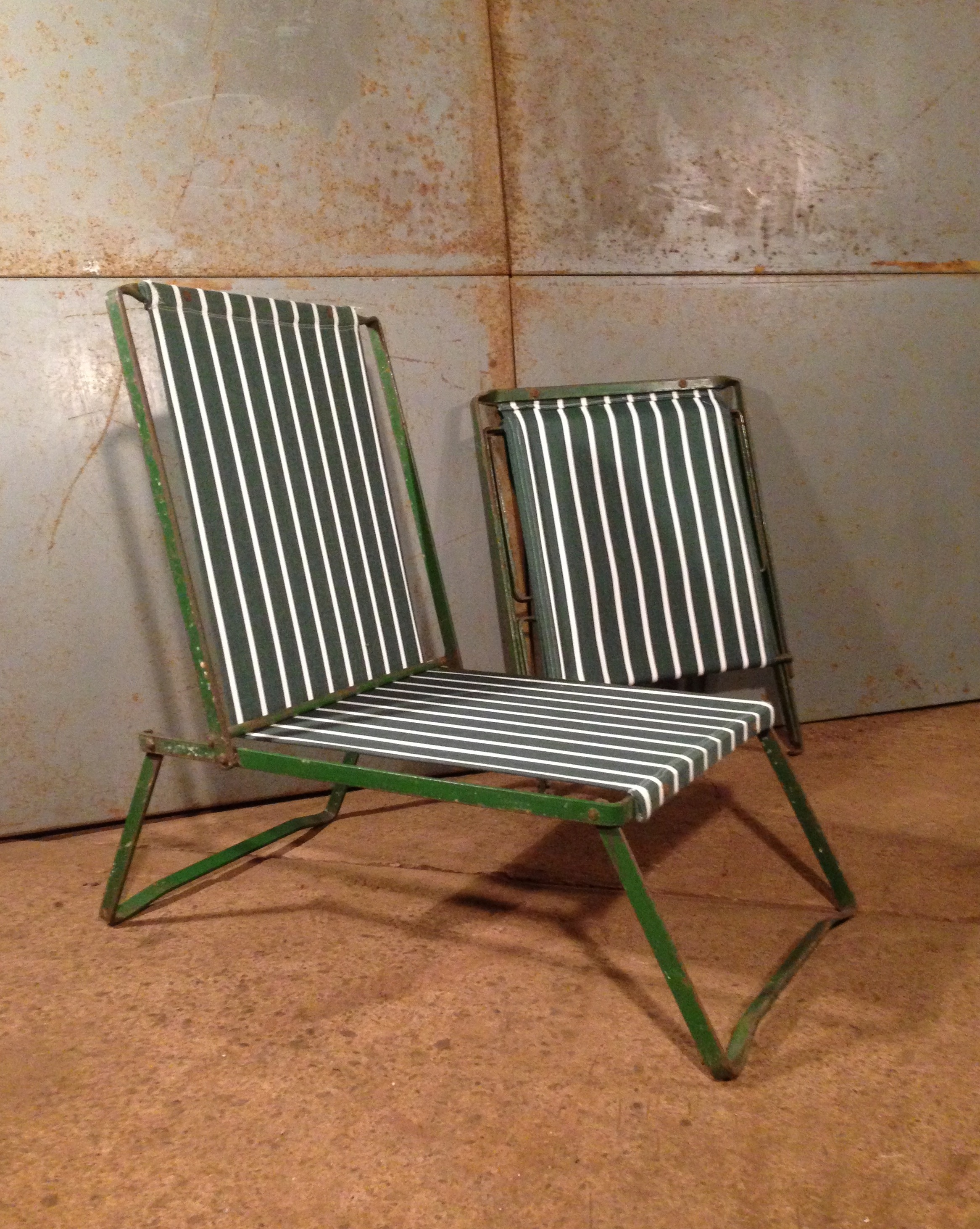 Pair of Metal Frame Folding Garden Chairs